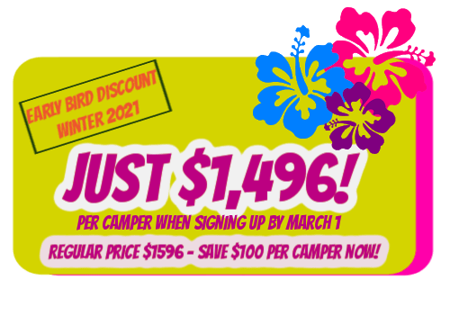 Green colorful retangular graphic with Hibiscus flowers promoting the Early bird discount price of $1496 for Aloha Beach Camp's Hawaii summer camp experience for kids and teens in 2021.