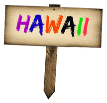 Wooden Hawaii sign