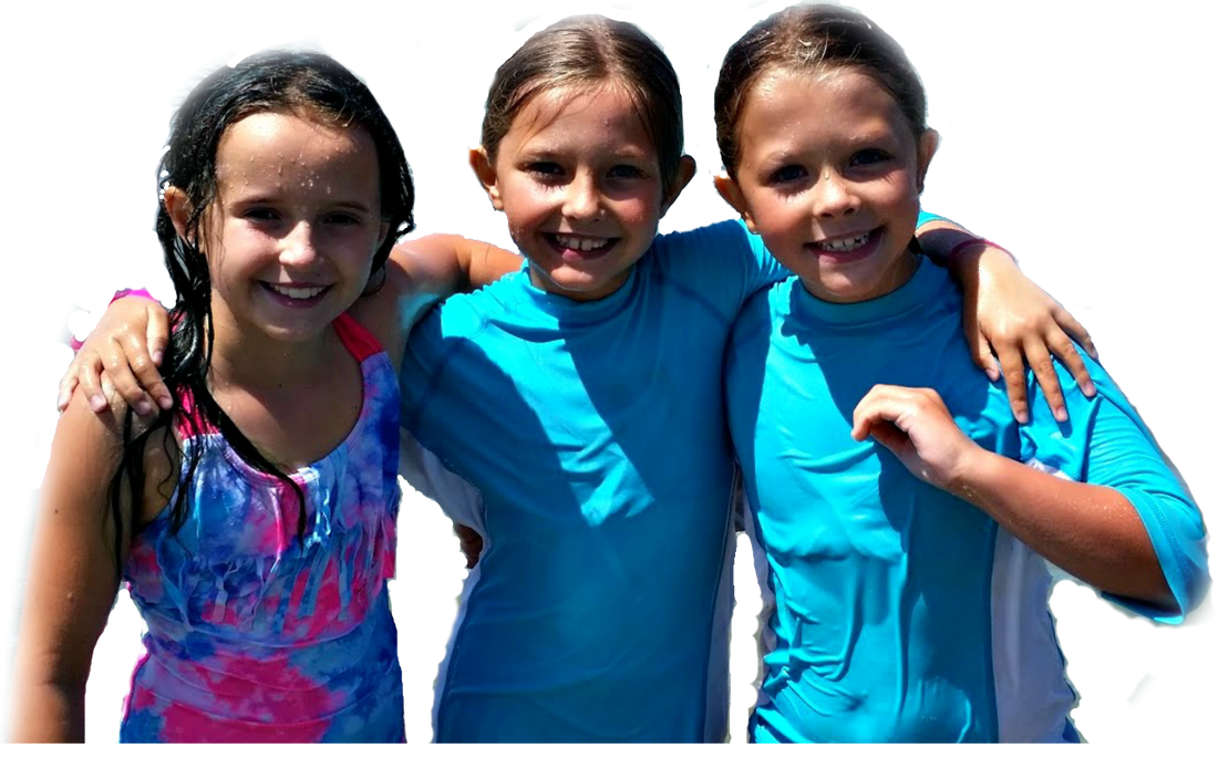 Three girls in their bathing suits and rash guards at Aloha Beach Camp's Hawaii Summer Camp inviting you to attend the program this summer.