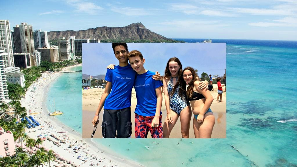 Waikiki Beach with Diamond Head in background and four campers (2 boys and2 girls) in an additional picture layed on top.